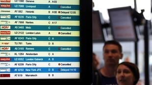 A board shows cancelled flights at Nice International airport on Tuesday