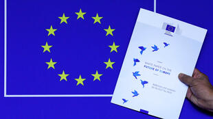 llustration photo shows the cover page of the White Paper on the Future of Europe, which was presented before the European Parli