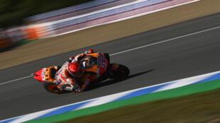 L'Espagnol Marc Marquez lors des essais libres 3 du GP d'Espagne MotoGP, à Jerez, le 1er mai 2021
