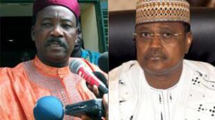 Mahamadou Issoufou (G) et Seïni Oumarou (D), les candidats du second tour de la présidentielle au Niger.