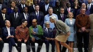 IMF Managing Director Christine Lagarde arrives for a group photo with Central Bank governors and finance ministers at the International Monetary Fund - World Bank Group Annual Meeting 2018 in Nusa Dua, Bali, Indonesia October 13, 2018.