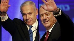 بنی گانتز و بنیامین نتانیاهو رهبران دولت ائتلاف ملی اسرائیل.