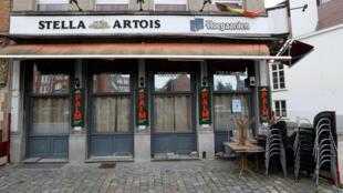 Ảnh chụp một quán cà phê ở Bruxelles ngày 08/10/2020, sau quyết định của chính phủ Bỉ đóng toàn bộ các quán cà phê và quán bar ở thủ đô trong một tháng để kềm chế dịch Covid-19.