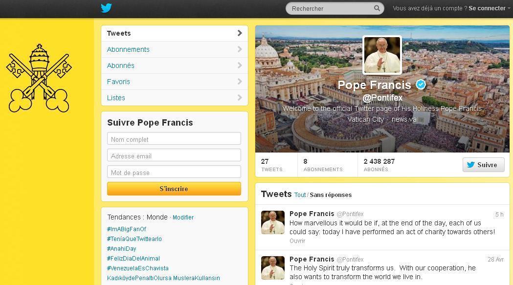 Reprodução da página no twitter da conta do papa Francisco.