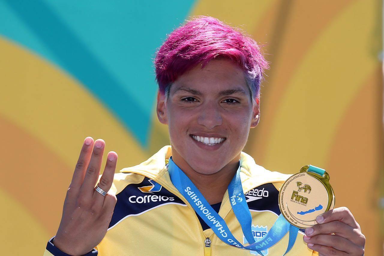 A nadadora brasileira Ana Marcela Cunha conquistou a medalha de ouro nos 25 km no MUndial de Budapeste, na sexta-feira 21 de julho de 2017.