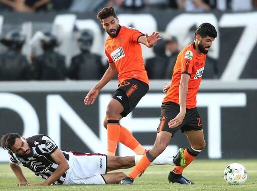 Les joueurs de Berkane (orange) le 28 avril 2019 face à Sfax. (illustration).