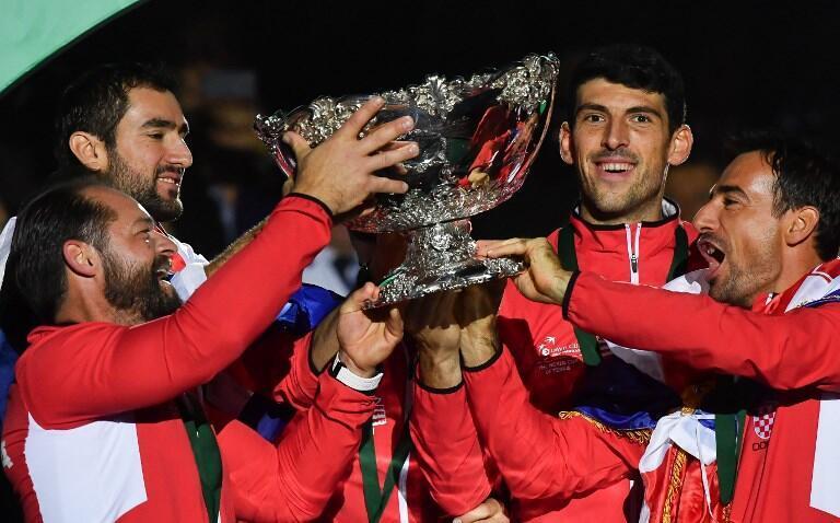 La joie des joueurs croates après le victoire en finale de Coupe Davis, le 25 novembre 2018.
