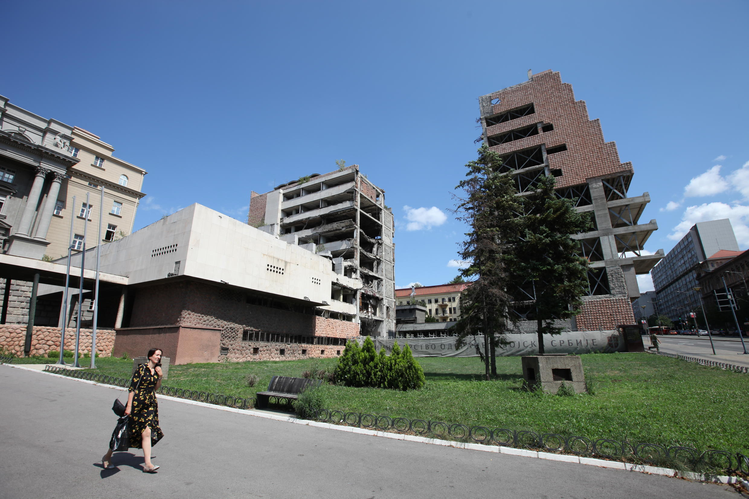 "The former building of the Chinese embassy to Serbia, destroyed by a Nato bombardment in 1999. The building is still not repaired and serves as a reminder of ""Nato atrocities"" against the country."