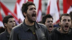 Manifestants à Athènes, le 11 novembre 2011.