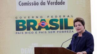 Presidenta Dilma Rousseff durante cerimônia de Instalação da Comissão Nacional da Verdade, no Palácio do Planalto.