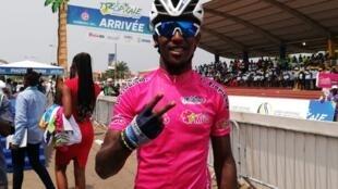 Biniam Girmay vainqueur de la 6e étape à Port-Gentil, le 25 janvier 2020.