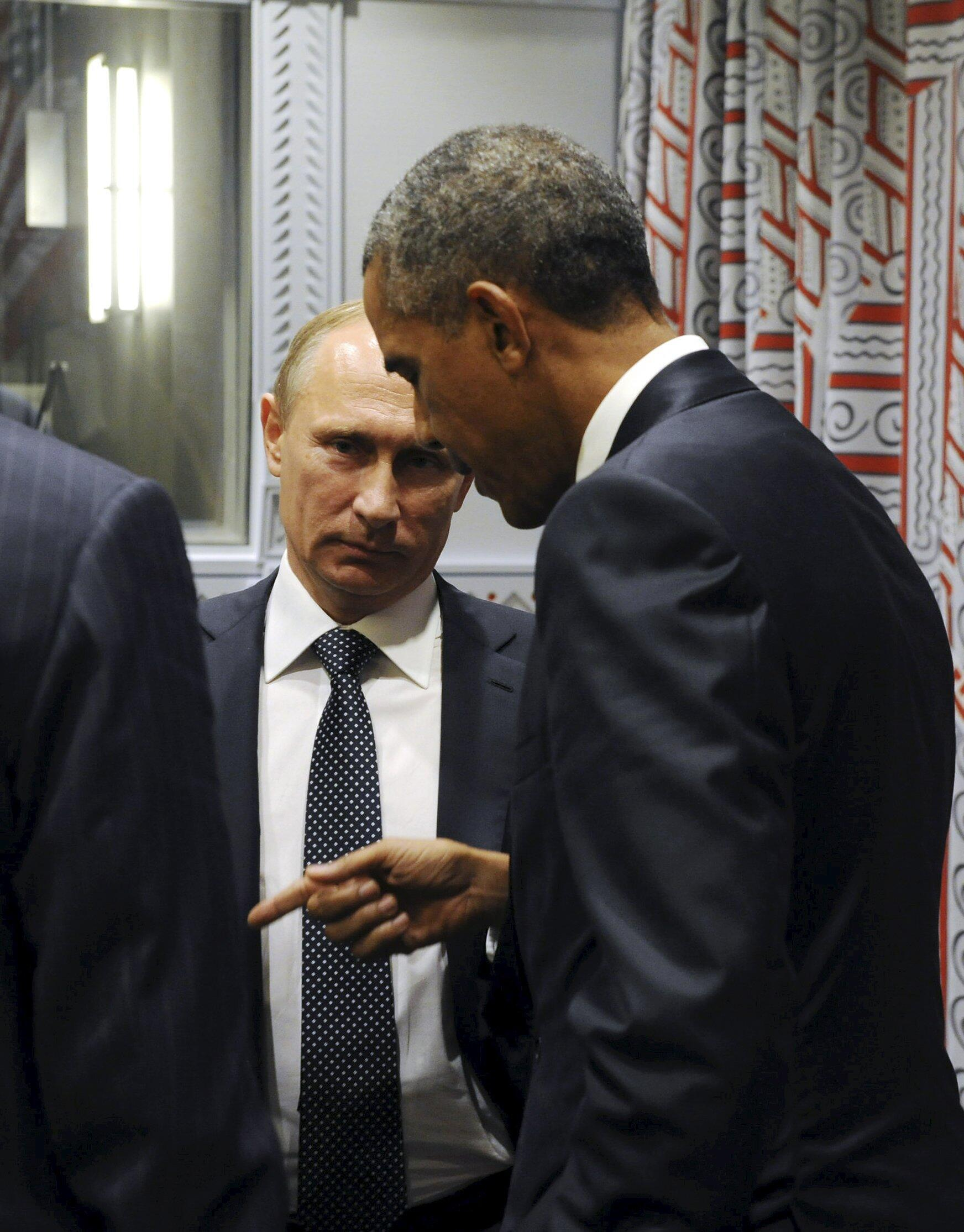 Владимир Путин и Барак Обама во время встречи на полях Генеральной ассамблеи ООН, 28 сентября 2015.