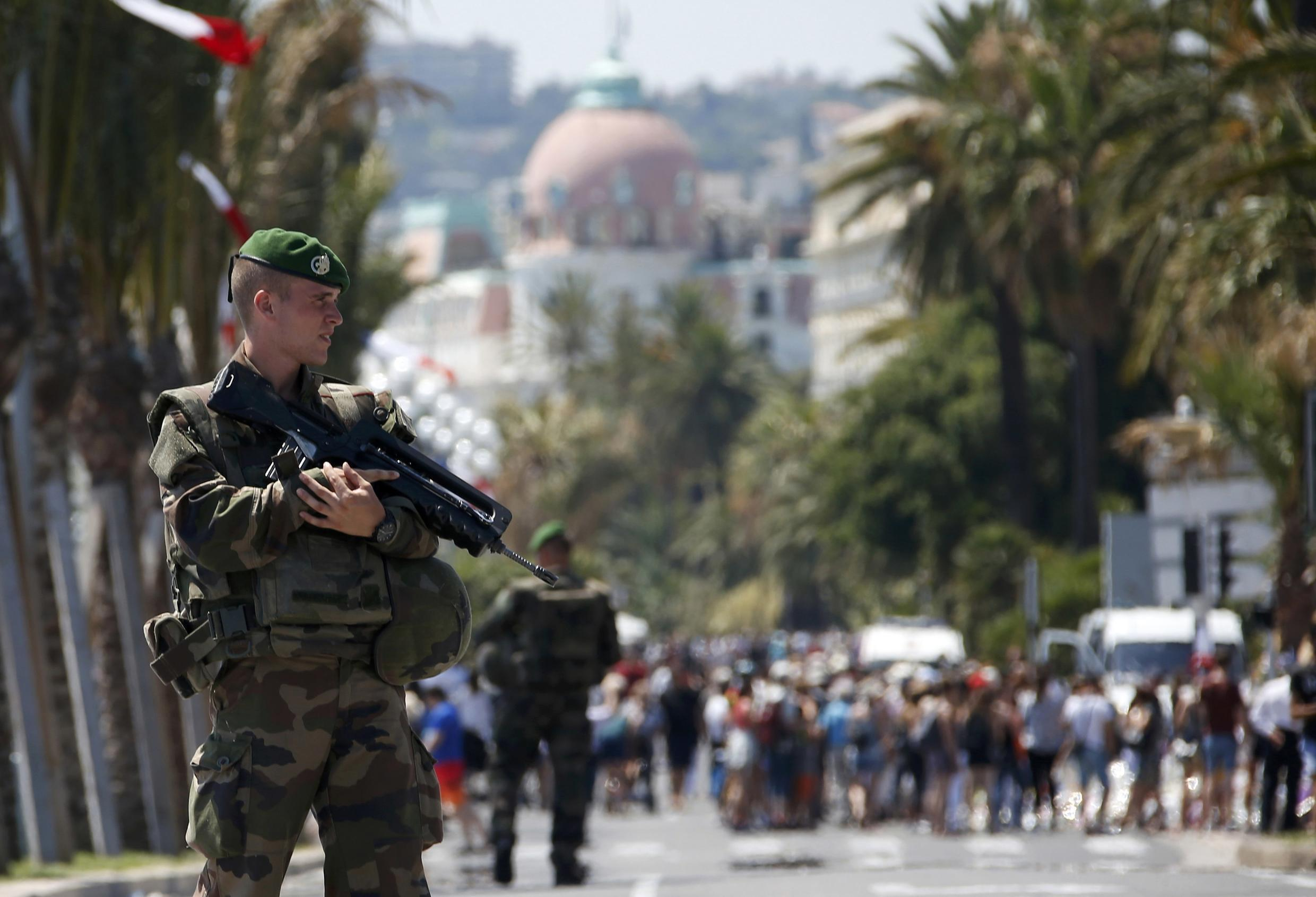 Soldiers from the French Foreign Legion patrol on the Promenade des Anglais in Nice after the attacks