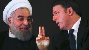 ماتئو رنزی نخست وزیر ایتالیا و حسن روحانی