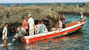 A kwassa-kwassa boat is traditionally used to carry illegal immigrants to Mayotte from nearby Comoros
