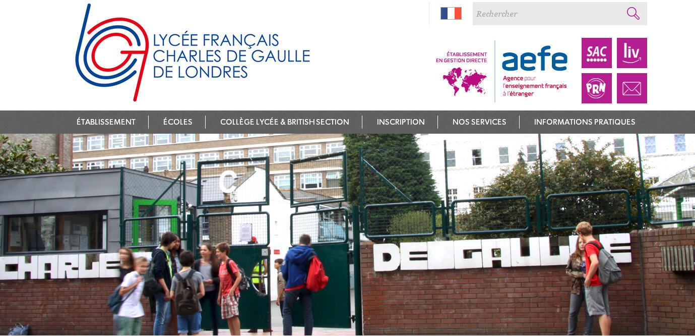 La page d'accueil du lycée français Charles de Gaulle à Londres.