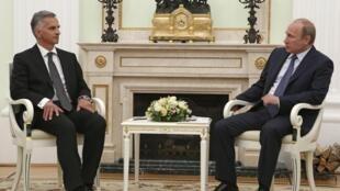 Встреча Владимира Путина с президентом Швейцарии Дидье Буркхальтером в Кремле 07/05/2014