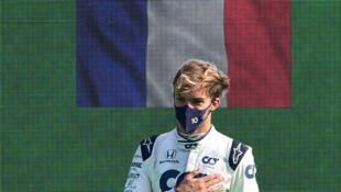 Pierre Gasly (Alpha Tauri) vainqueur du GP d'Italie, à Monza, le 6 septembre 2020