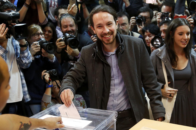 O líder do partido Podemos, Pablo Iglesias, votou pela manhã em Madri.