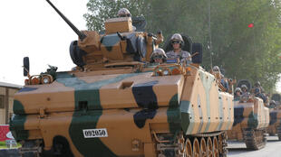 Turkish APC drives at their military base in Doha, Qatar June 18, 2017. Picture taken June 18, 2017.