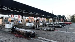 A toll booth in Virsac, south west France, vandalised during the Yellow Vest protests, 21 November 2018.