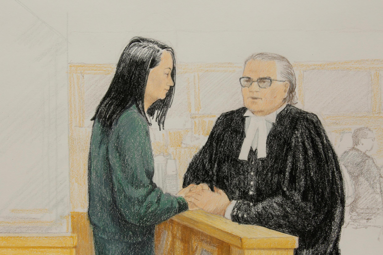 Ảnh bà Mãnh Vãn Châu (T) tại tòa án Canada, Vancouver, Canada, 10/12/2018.