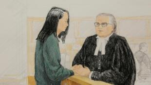 孟晚舟12月10日溫哥華一家法庭出庭示意圖