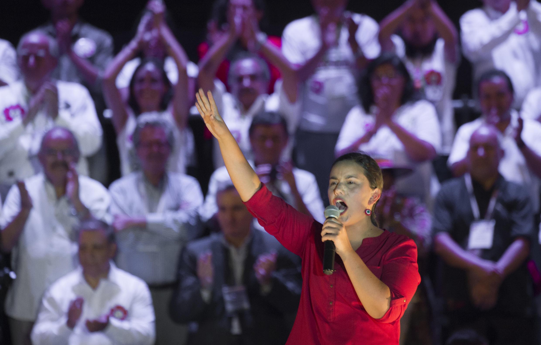 La candidata del Frente Amplio, Verónika Mendoza, este 7 de abril de 2016 en Lima.