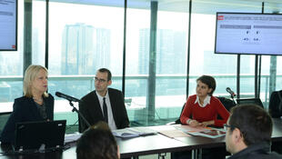 CESP president Brigitte Grésy presents the report with Women's Rights Minister Najat Vallaud-Belkacem (R) looking on
