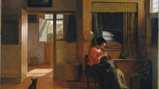 """""""Scène d'Intérieur avec une mère épouillant son enfant (le devoir d'une mère)"""" de Pieter de Hooch (c. 1658-60)"""
