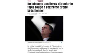 """Fazendo alusão à sede do ministério francês da Economia, o texto foi intitulado """"Não deixemos Bercy estender o tapete vermelho para a extrema direita brasileira"""""""
