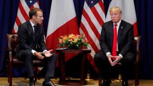 Emmanuel Macron et son homologue américain Donald Trump, le 24 septembre 2018, lors de l'Assemblée générale de l'ONU.