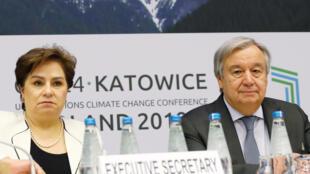 Patricia Espinosa, secretaria ejecutiva de la Convención de la ONU para el Clima y Antonio Guterres, secretario general de la ONU en la plenaria de la COP24. Polonia, 14 de diciembre de 2018.