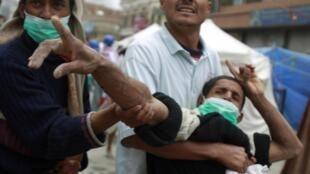 Un manifestant blessé à Sanaa, le 18 mars 2011.