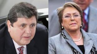 Le président péruvien Alan Garcia (g) et son homologue chilien Michelle Bachelet.
