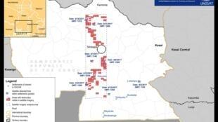 Carte des destructions et exactions observées par l'ONU dans la province du Kasaï, en RDC.