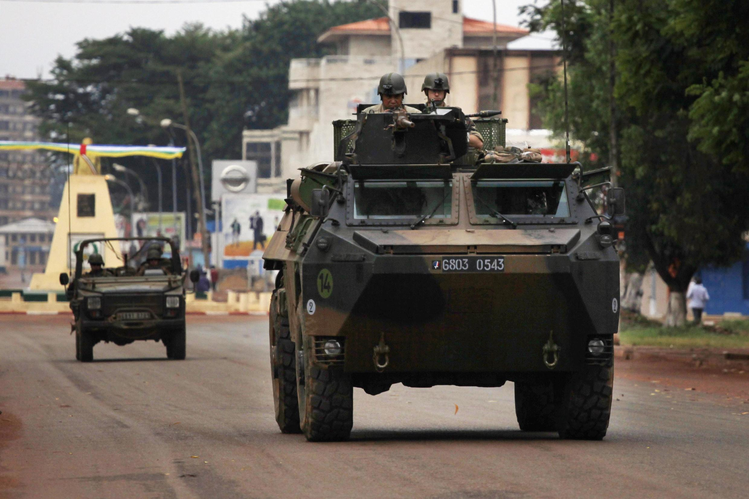 French troops patrol in an armoured vehicle in Bangui