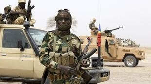 Chadian soldiers fighting Boko Haram in February