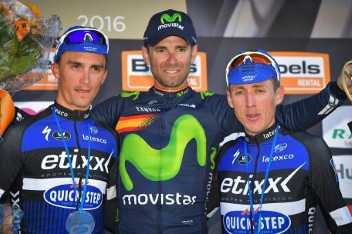 Julian Alaphilippe, Alejandro Valverde et Dan Martin sur le podium de la 80e Flèche Wallonne, le 20 avril 2016 à Huy