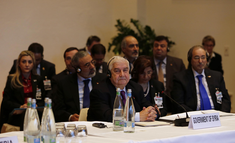 Le ministre des Affaires étrangères syrien, Walid Mouallem, à Montreux, le 22 janvier 2014.