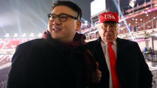 韓國平昌冬奧會開幕式上金正恩和特朗普模仿者參加觀禮資料圖片