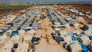Azraq camp for displaced Syrians near the town of Maaret Misrin in rebel-held northwestern Idlib province, sheltering several hundred families displaced by Syria's conflict
