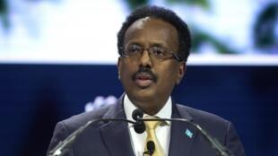 Rais wa Somalia Mohamed Abdullahi Mohamed, kwa jina maarufu Farmajo, hapa ilikuwa huko New York , Septemba 23, 2019.