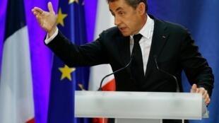 Nicolas Sarkozy, lors de son premier meeting de retour, le 25 septembre 2014, à Lambersart (Nord).
