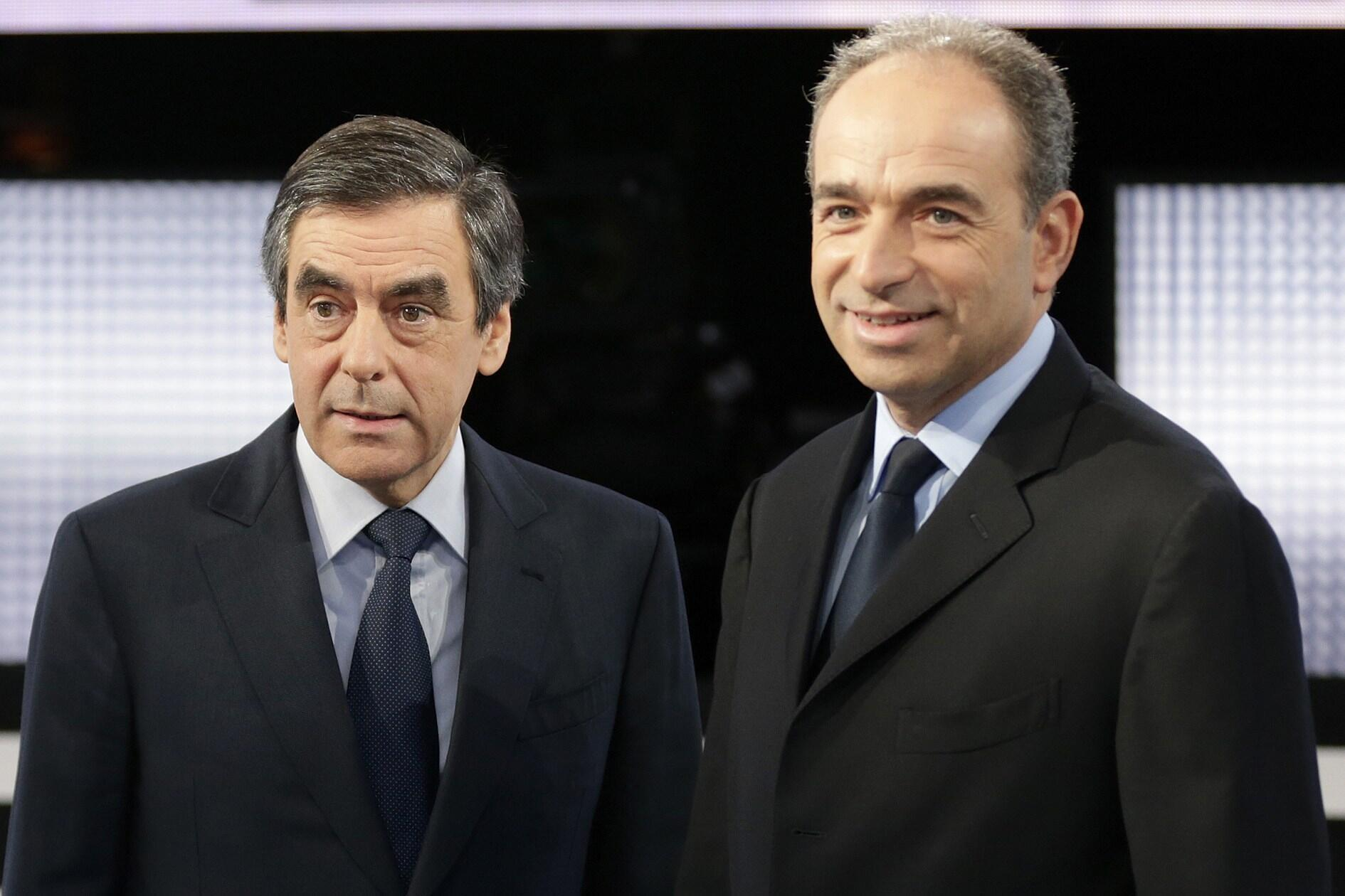 Jean-Francois Cope and Francois Fillon at the France 2 television studios last month