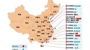 圖為疑似中國的核電站發展現狀與規畫圖