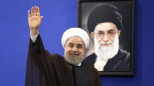 Le président réélu Hassan Rohani, après son discours à la télévision d'Etat, à Téhéran, le 20 mai 2017.