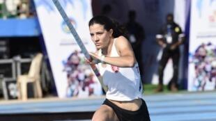 La Tunisienne Dorra Mahfoudhi lors des Championnats d'Afrique 2018 d'athlétisme.