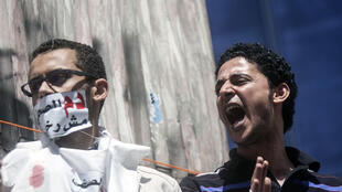 Egyptian journalists protesting against a clampdown on freedom of speech in Cairo on 17 april 2014.
