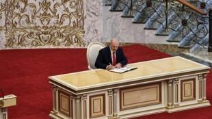 La cérémonie d'investiture de Loukachenko n'avait pas été annoncée au préalable. Minsk, le 23 septembre 2020.
